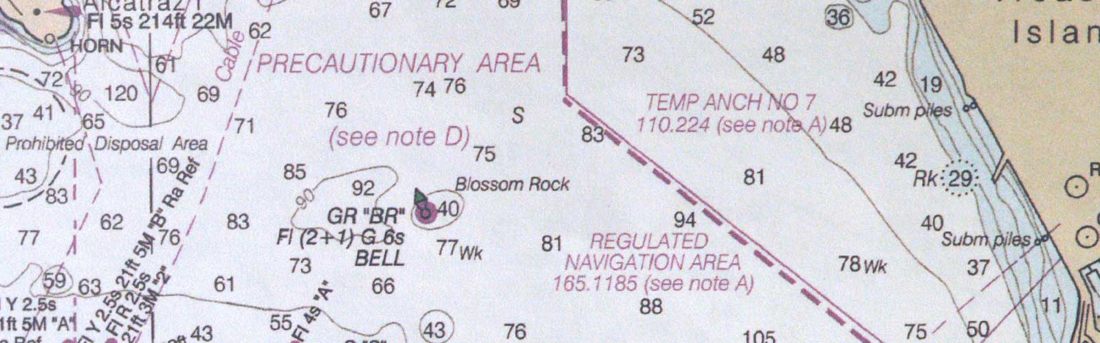 San Francisco Bay navigation map showing location of Blossom Rock